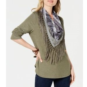 Style&CO M Olive Scarf Tassle Top 6C14